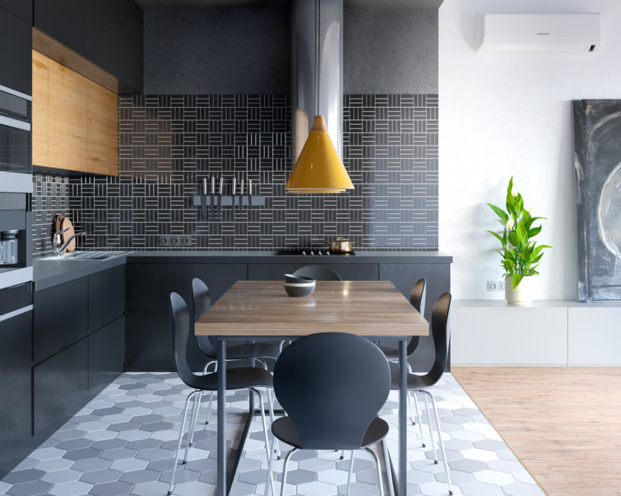 Kitchen in black tones