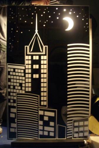 """Зеркало для ниши с подсветкой """"Ночной город"""""""